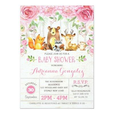 Pink Floral Woodland Animals Baby Shower Invite
