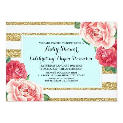 Pink Flowers Aqua Gold Stripes Baby Shower Invitation