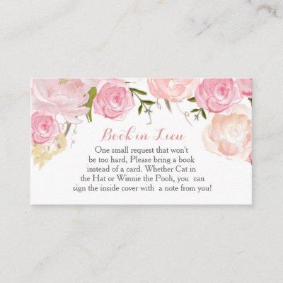 Pink Flowers Book In Lieu, Bring a book Enclosure Invitations