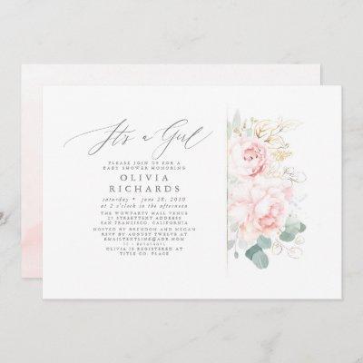 Pink Flowers Gold Leaves Elegant Baby Shower Invitation