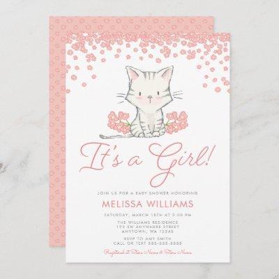 Pink Flowers Kitten Girl Baby Shower Invitation