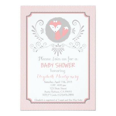 Pink fox Invitations