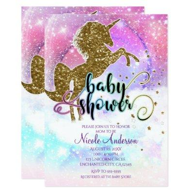 Pink Galaxy Magical Unicorn Sparkle Baby Shower Invitations