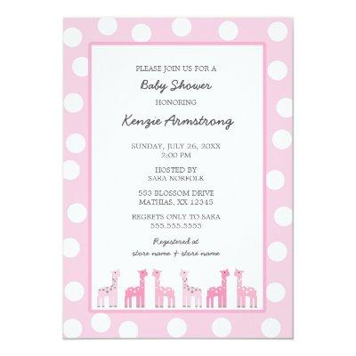 Pink Giraffe baby shower or birthday party Invitations