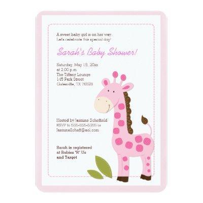 Pink Giraffe Girl Invitations