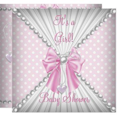 Pink Girl Baby Shower Pearl Polka Dots Invitation