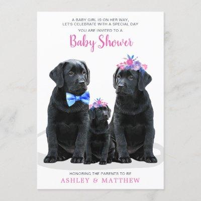 Pink Girl Puppy Dog Couples Baby Shower Invitation