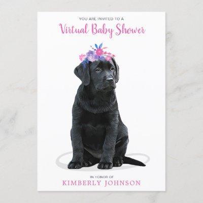 Pink Girl Puppy Dog Virtual Baby Shower Invitation