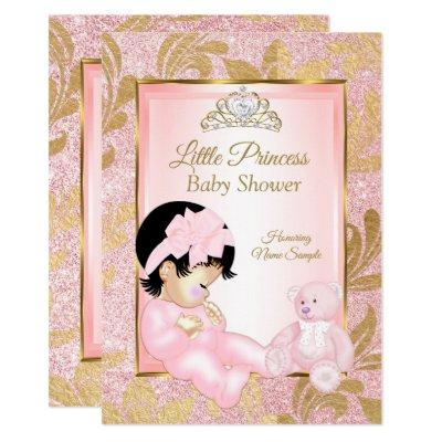Pink Glitter Gold Baby Shower Bear Invitation