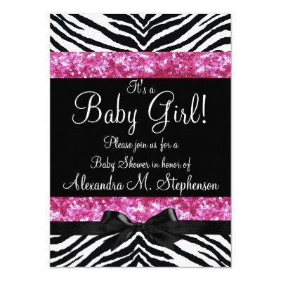 Pink Glitter Zebra Bow Baby Shower Girl Invitation