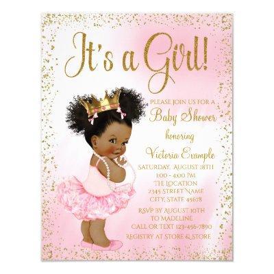 Pink Gold African American Princess