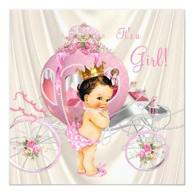 Pink Gold and Ivory Pearl Princess Baby Shower Invitation