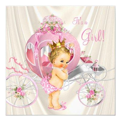 Pink Gold and Ivory Pearl Princess Baby Shower Invitations