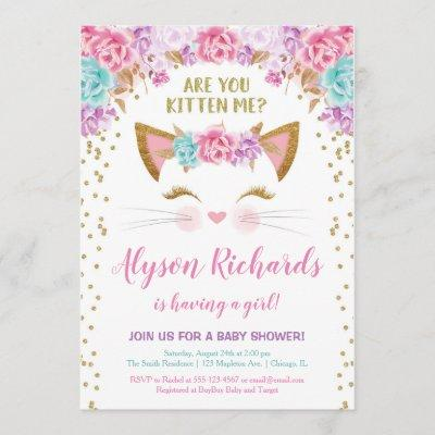 Pink gold and teal floral kitty girl baby shower invitation