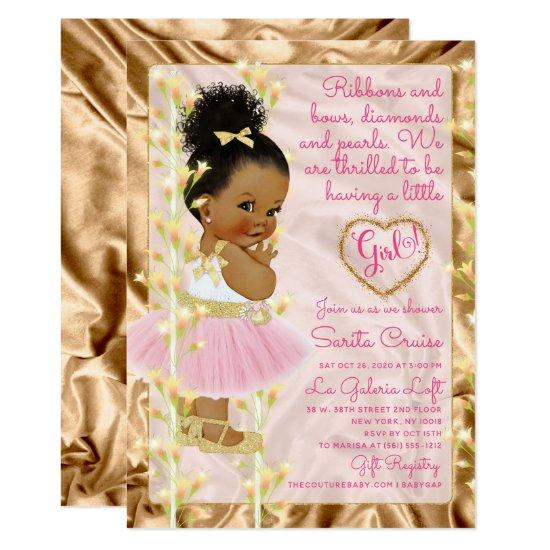 Pink & Gold Baby Shower Ethnic Invitation