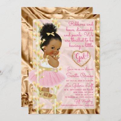 Pink & Gold Baby Shower Ethnic Invitation