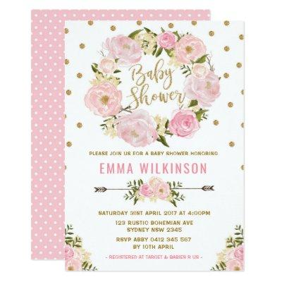 Pink & Gold Boho Floral Baby Shower Invitations