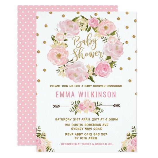 Pink & Gold Boho Floral