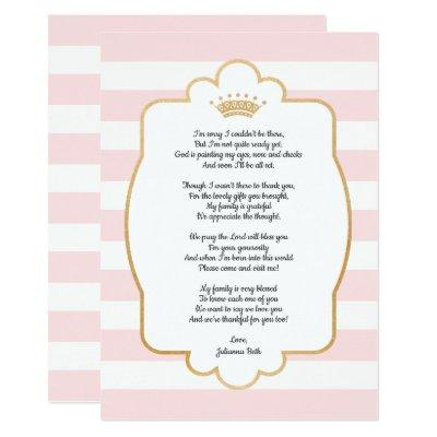 Pink Gold Crown Baby Shower Thank you note + poem Invitations