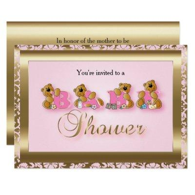 Pink & Gold Damask with Teddy Bears | Baby Shower Invitation