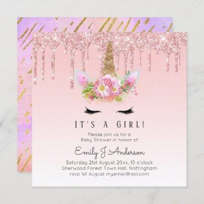 Pink Gold Drip Glitter Unicorn Baby Girl Shower Invitation