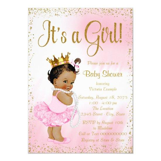 Pink Gold Ethnic Ballerina Tutu Pearl Baby Shower Card