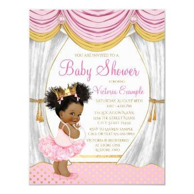 Pink Gold Ethnic Princess Baby Shower Invitation