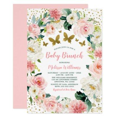 Pink Gold Floral Butterfly Girl Baby Shower Brunch Invitation