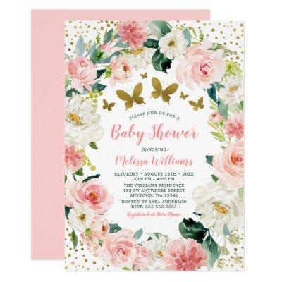 Pink Gold Floral Butterfly Girl Baby Shower Invitation