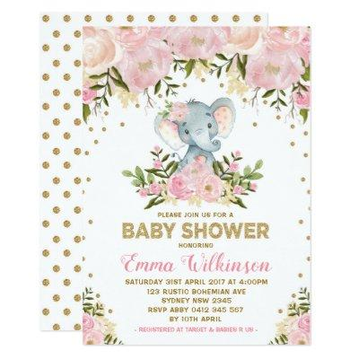 Pink & Gold Floral Elephant Baby Shower Invitations