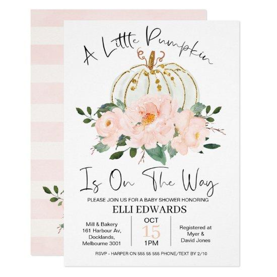 Pink Gold Floral Pumpkin Baby Shower Invitation