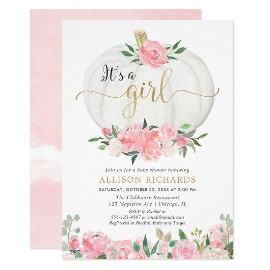 Pink gold floral pumpkin It's a girl baby shower Invitation