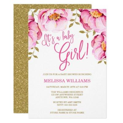 Pink Gold Floral Watercolor Invitations