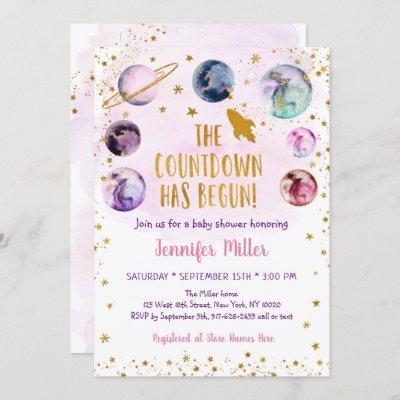 Pink Gold Galaxy Countdown Has Begun Baby Shower Invitation