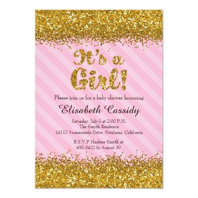 Pink & Gold Glitter Baby Girl Shower Invitations