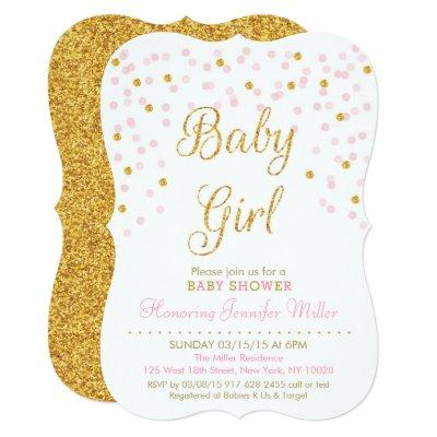Blush Pink Gold Baby Shower Invitations Baby Shower Invitations
