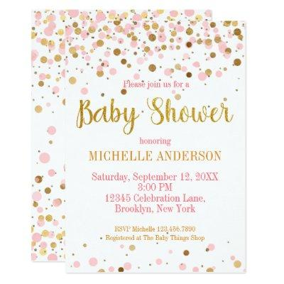 Pink Gold Glitter Confetti Modern Baby Shower Invitation