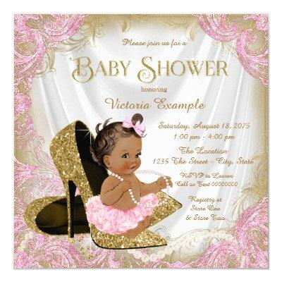 Pink Gold Glitter Shoe Pearl Ethnic Baby Shower Invitations