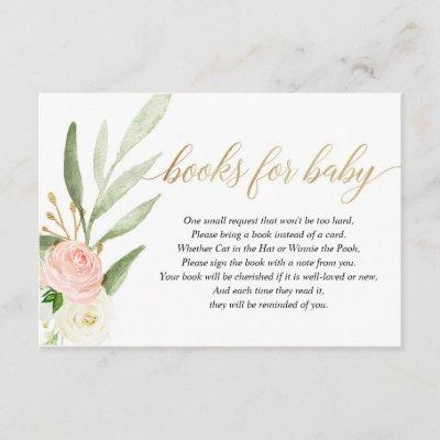 Pink gold greenery book request books for baby enclosure card