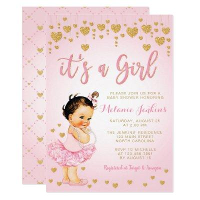 Pink Gold Heart Girl Tutu Baby Shower Invitation