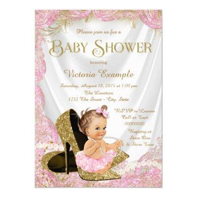 Pink Gold High Heel Shoes Pearls Baby Shower Invitations