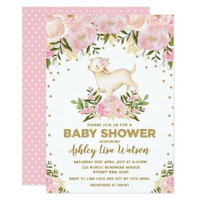 Pink Gold Lamb Baby Shower Blush Floral Invitations