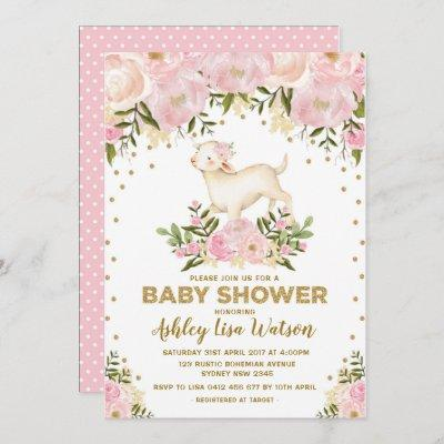 Pink Gold Lamb Baby Shower Blush Floral Invitation