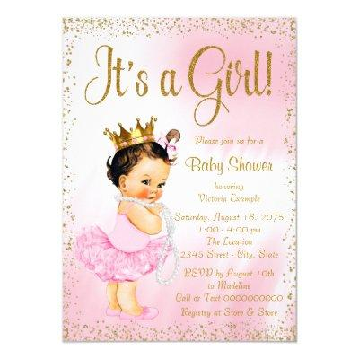 Pink Gold Little Ballerina Tutu Pearl Baby Shower Invitations