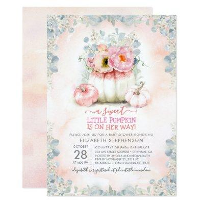 Pink Gold Little Pumpkin Cute Elegant Baby Shower Invitation