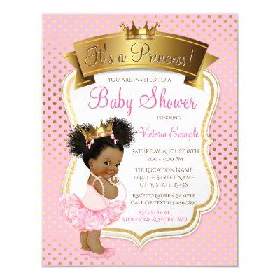 Pink Gold Princess Baby Shower Invitations