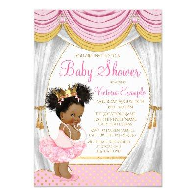 Pink Gold Princess Curtains Baby Shower Invitations