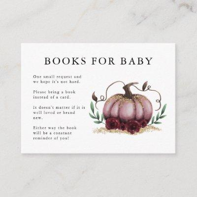 Pink Gold Pumpkin Baby Shower Book Request Enclosure Card