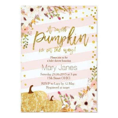 Pink Gold Pumpkin Baby Shower Invitations