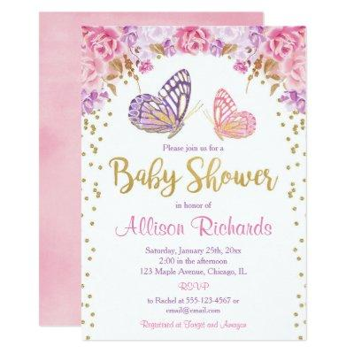 Pink gold purple butterfly girl baby shower invitation